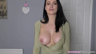 Big boobs brunette Erica dancing nicely while showing tits