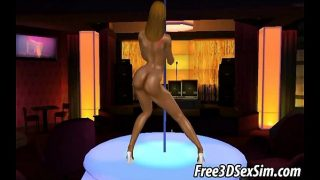 Hot 3D ebony stripper babe dancing on the stage