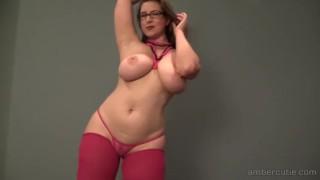 Ambercutie Pink G-String Striptease